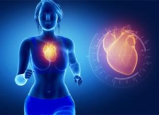 Man sieht eine joggende Frau und ihr pulsierendes Herz als Animation daneben
