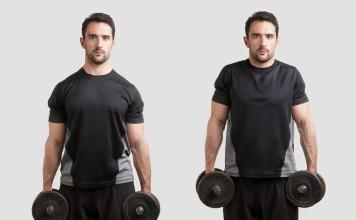 Sportler trainiert Shrugs mit der Kurzhantel - auch Schulterhochziehen genannt