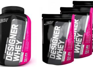 """Verschieden große Verpackungen des Produktes """"ESN Designer Whey Protein"""""""
