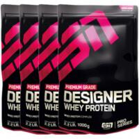 Zu sehen sind 4 Packungen vom ESN Designer Whey Protein