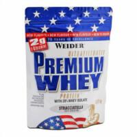 Eine Packung Weider Premium Whey mit US-Flagge