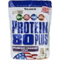 Eine Packung Weider Protein 80 Plus mit US-Flagge