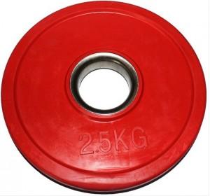 Eine rote, gusseiserne Hantelscheibe mit Gummiüberzug