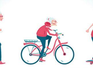 Im Comic-Stil ist eine alte Frau zu sehen, die läuft, rad fährt und skatet
